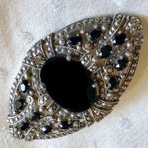 Vintage Marcasite sterling & onyx art deco brooch